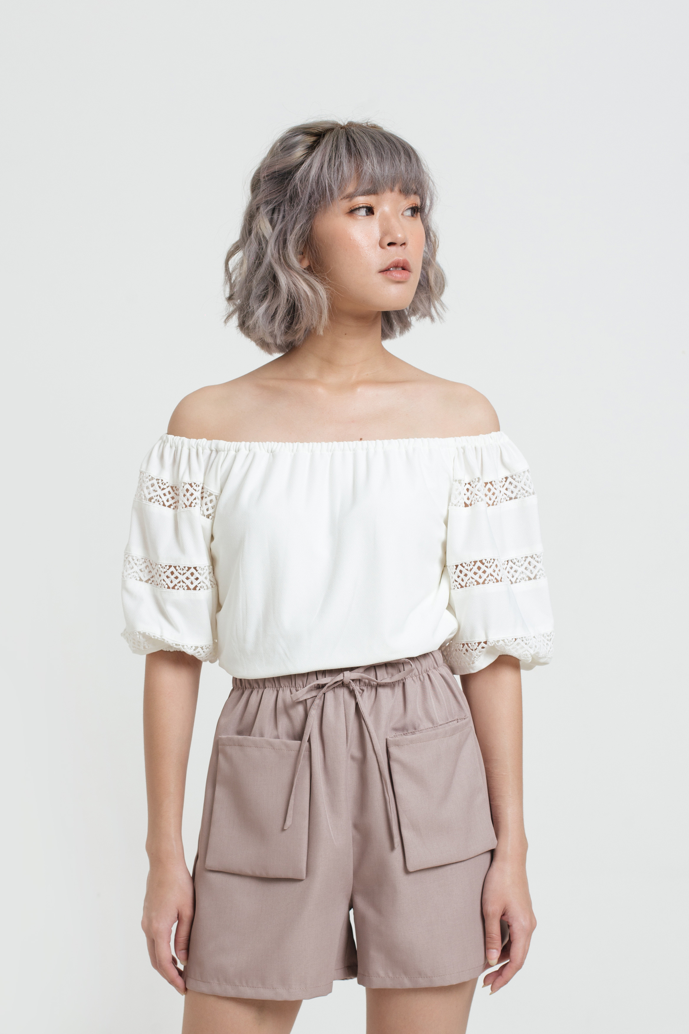 Lace Puff Sleeve Off Shoulder Top