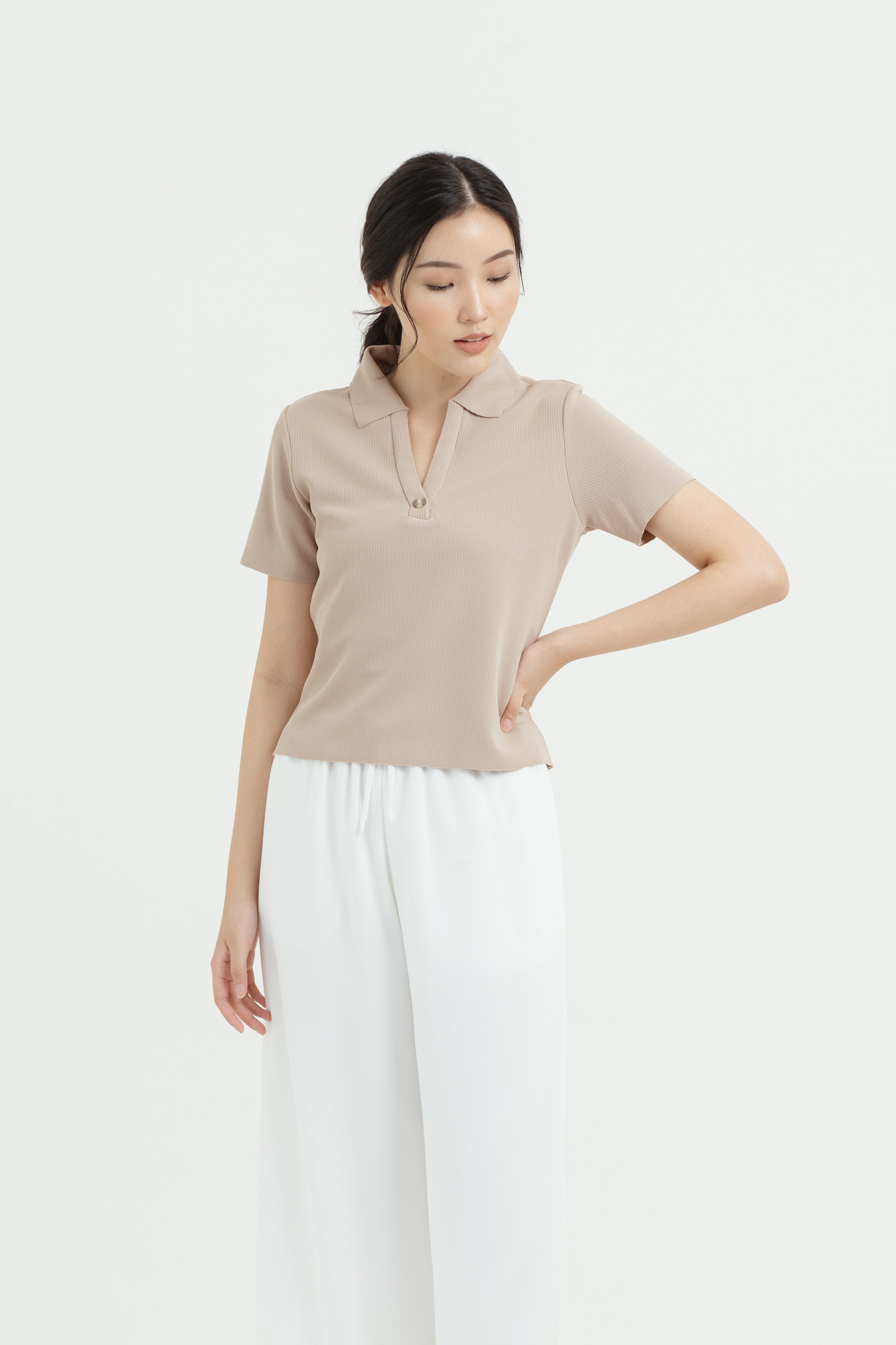 Polo One Button Knit Top
