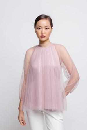 Pleated Tulle Blouse