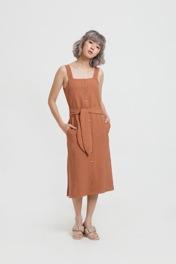 Brick Button Tied Dress