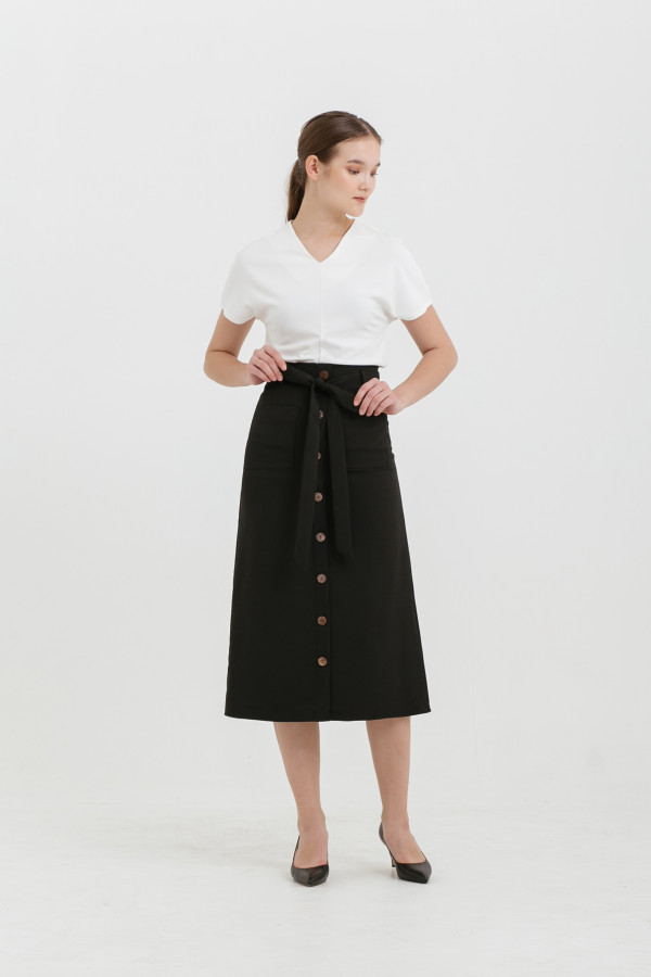 Button Tied Midi Skirt