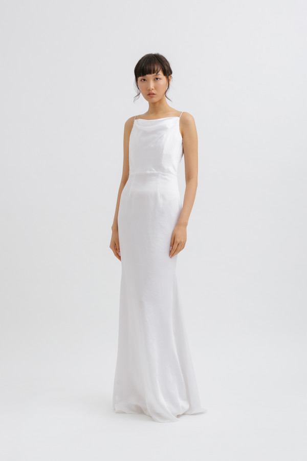 Drapery Neck Backless Maxi Dress