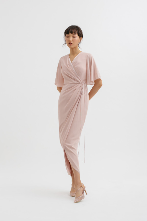Drapery Sleeve Overlap Tulip Midi Dress