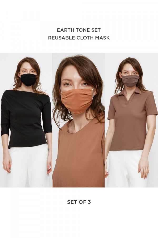 Reusable Cloth Mask Earth Tone Set