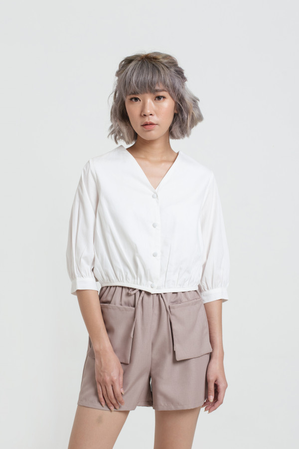 Fair Button Crop Blouse