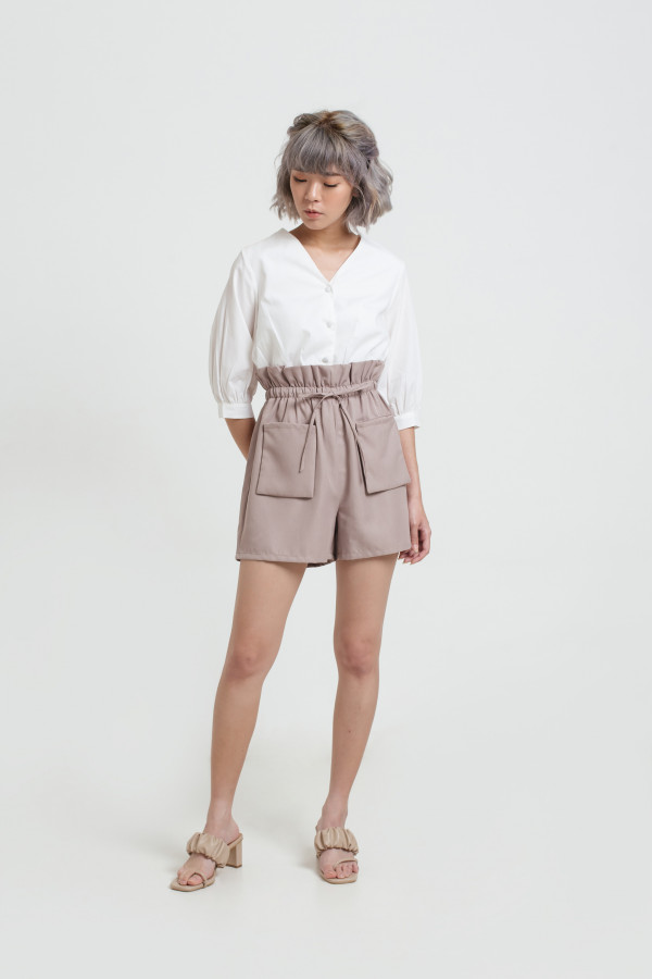 High Waist Brown Pocket Shorts