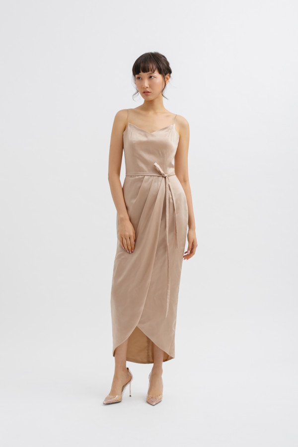 Overlap Tulip V Neck Midi Dress