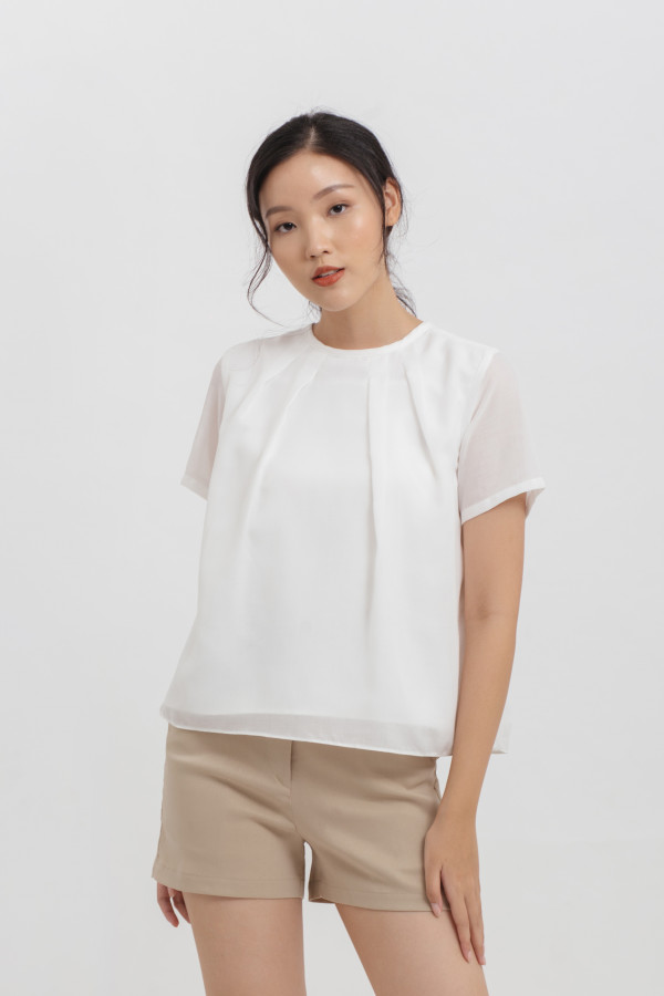 Pleat Neck Cotton Top