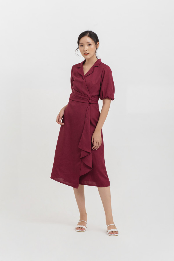 Puff Sleeve Drapery Midi Dress