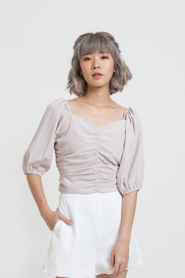 Ruched Puff Sleeve Blouse