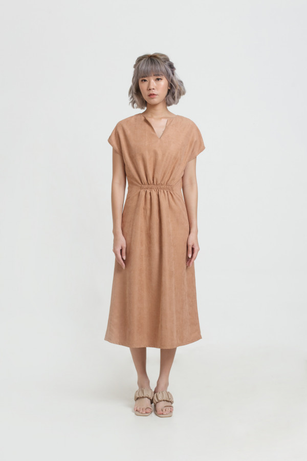Ruched Waist Midi Dress