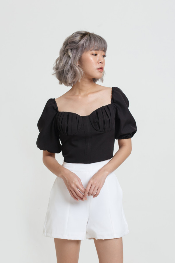 Shell Puff Sleeve Crop Top