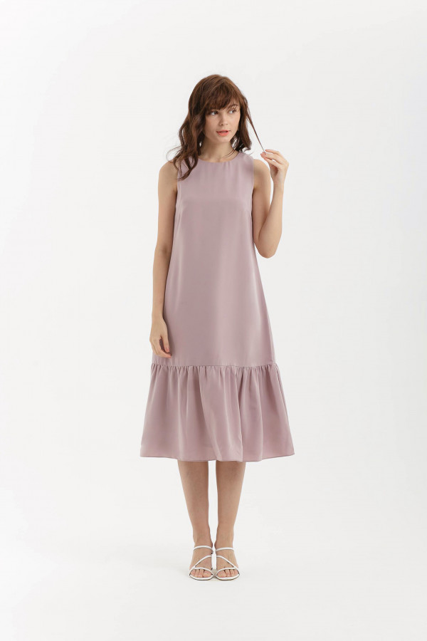 Shift Midi Ruffle Dress