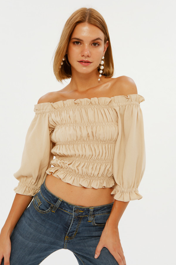 Tan Layer Smocked Top